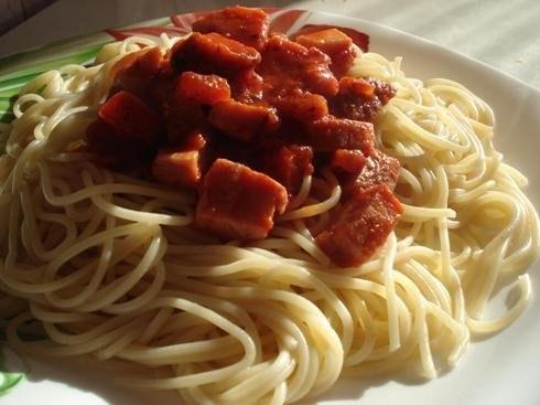 Спагетти с ветчиной рецепт с фото