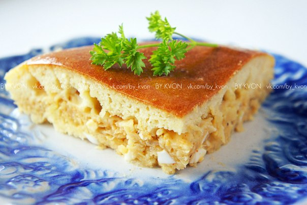 пирог из жидкого теста на кефире с капустой
